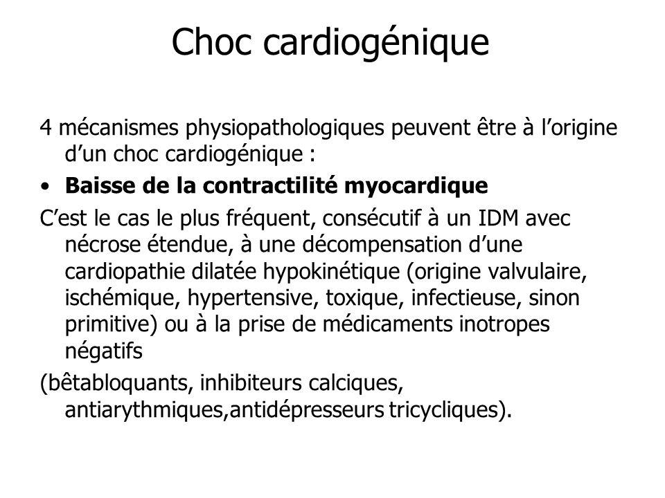 Choc cardiogénique 4 mécanismes physiopathologiques peuvent être à l'origine d'un choc cardiogénique :