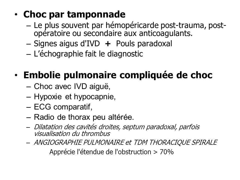 Embolie pulmonaire compliquée de choc