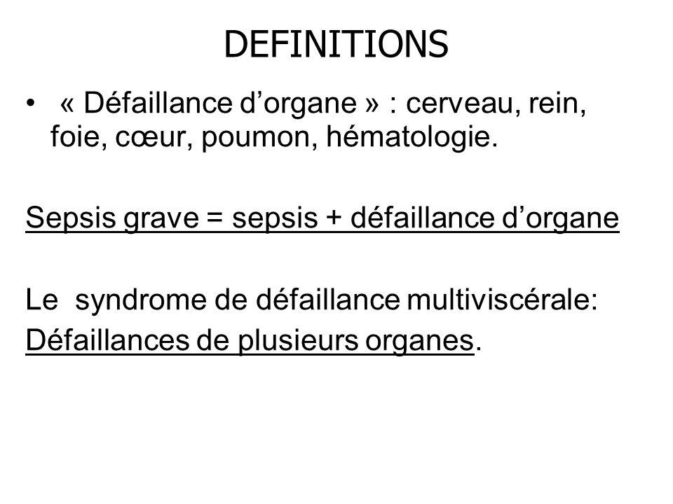 DEFINITIONS « Défaillance d'organe » : cerveau, rein, foie, cœur, poumon, hématologie. Sepsis grave = sepsis + défaillance d'organe.