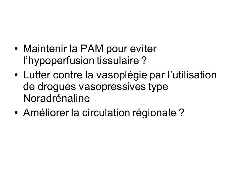 Maintenir la PAM pour eviter l'hypoperfusion tissulaire