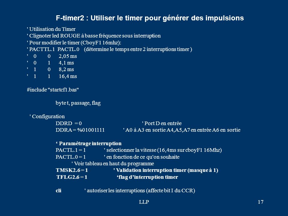 F-timer2 : Utiliser le timer pour générer des impulsions