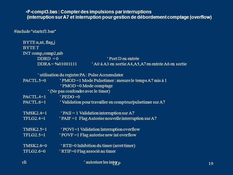F-compt3.bas : Compter des impulsions par interruptions (interruption sur A7 et interruption pour gestion de débordement comptage (overflow)