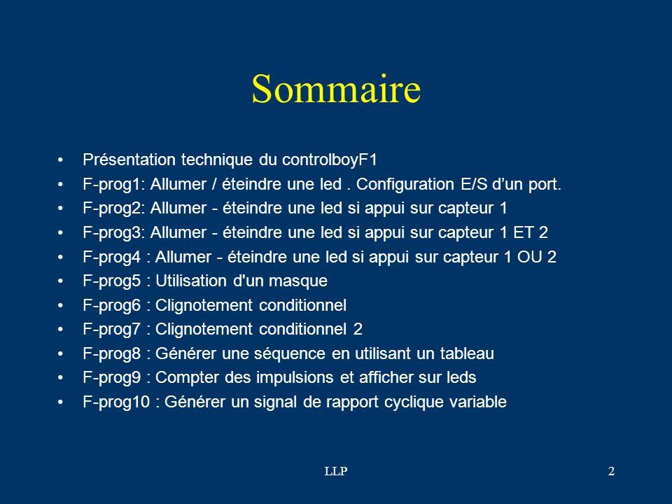 Sommaire Présentation technique du controlboyF1
