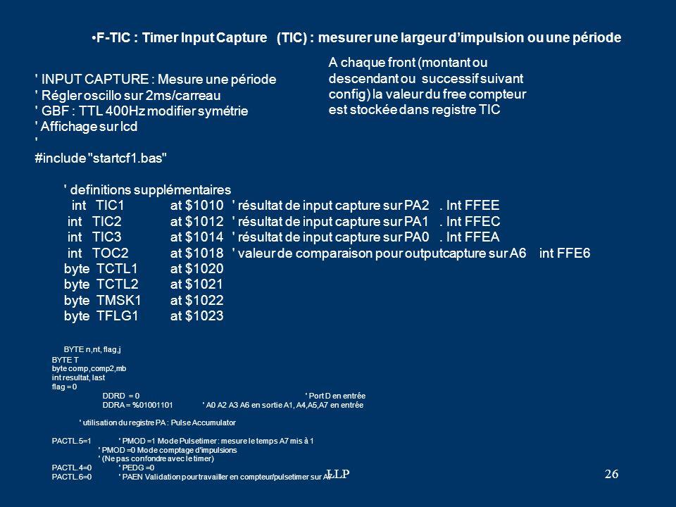 INPUT CAPTURE : Mesure une période Régler oscillo sur 2ms/carreau