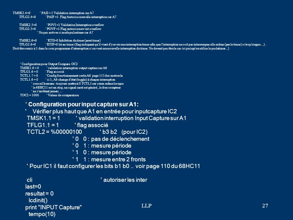 Configuration pour input capture sur A1: