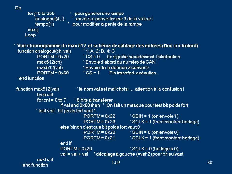 Do for j=0 to 255 pour générer une rampe. analogout(4, j) envoi sur convertisseur 3 de la valeur i.