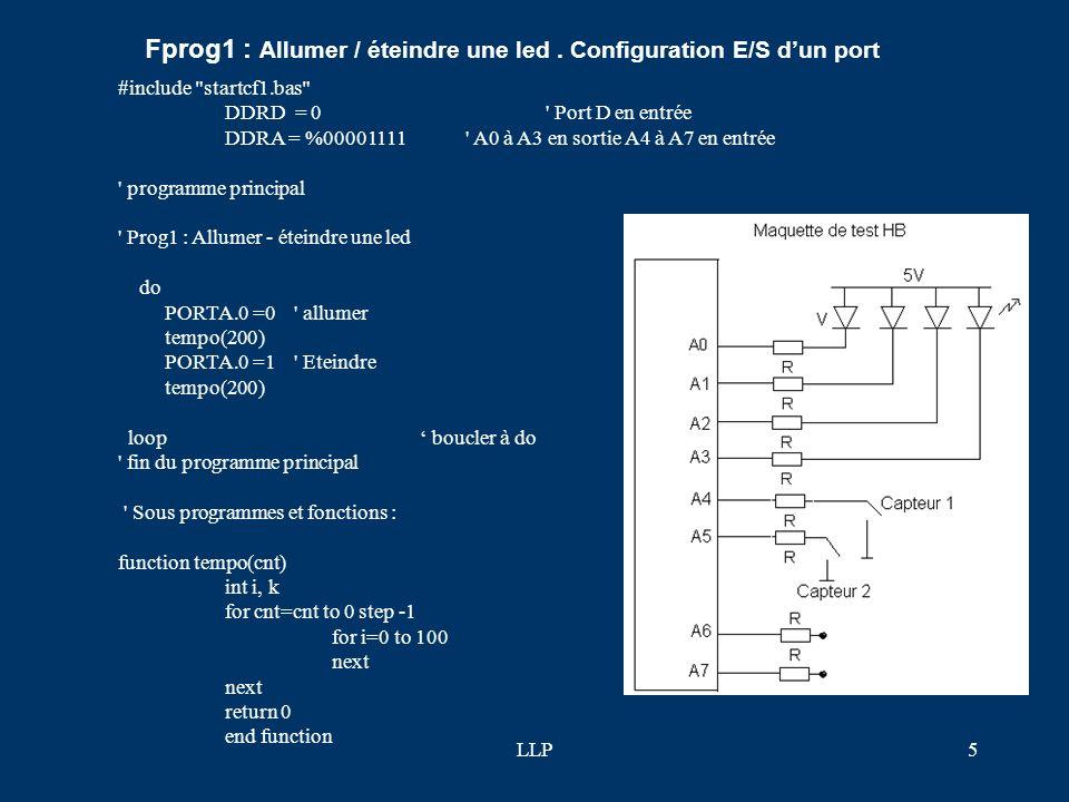 Fprog1 : Allumer / éteindre une led . Configuration E/S d'un port