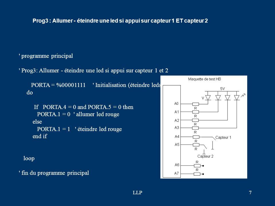 Prog3: Allumer - éteindre une led si appui sur capteur 1 et 2
