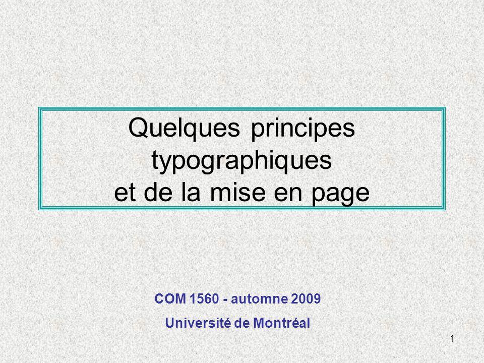 Quelques principes typographiques et de la mise en page