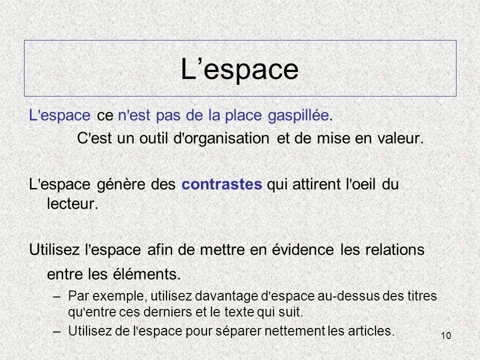 L'espace L espace ce n est pas de la place gaspillée.