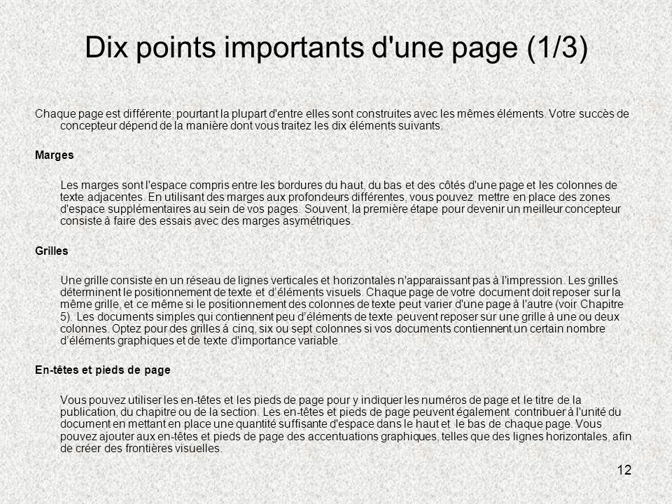 Dix points importants d une page (1/3)