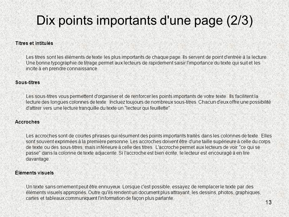 Dix points importants d une page (2/3)