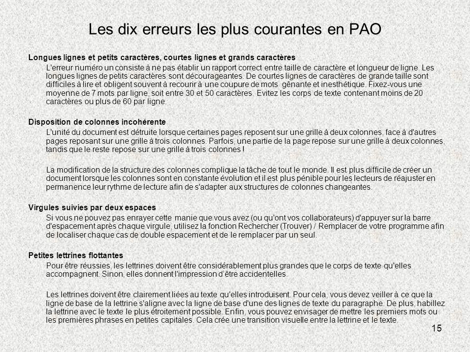 Les dix erreurs les plus courantes en PAO