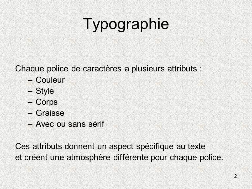 Typographie Chaque police de caractères a plusieurs attributs :