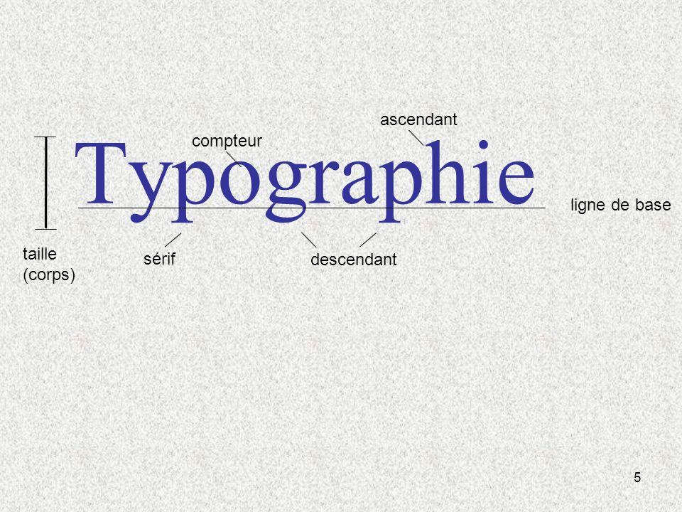 Typographie ascendant compteur ligne de base taille (corps) sérif