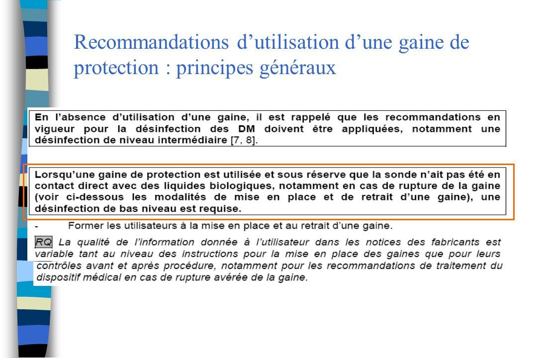 Recommandations d'utilisation d'une gaine de protection : principes généraux