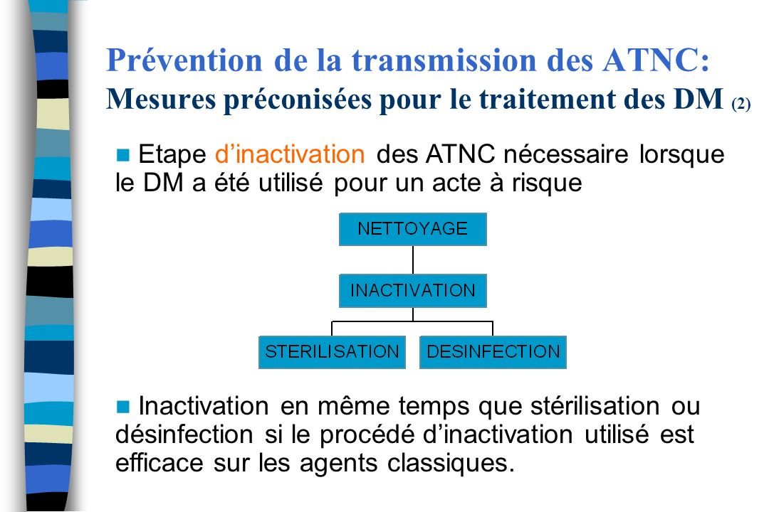 Prévention de la transmission des ATNC: Mesures préconisées pour le traitement des DM (2)