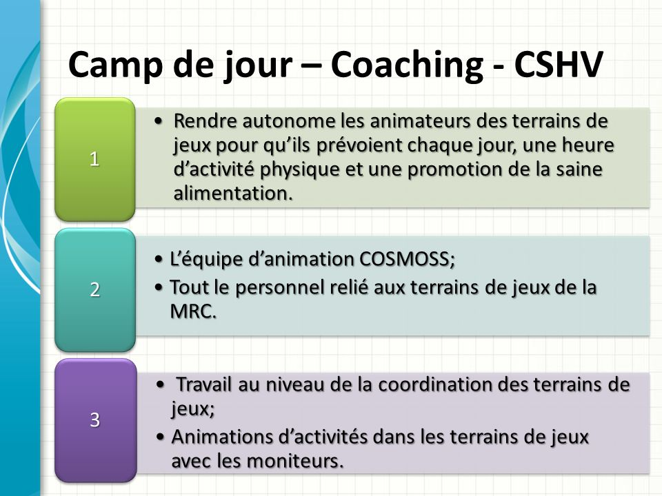 Camp de jour – Coaching - CSHV