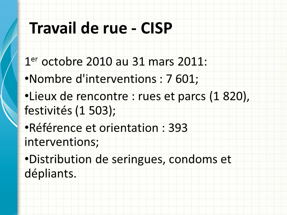 Travail de rue - CISP 1er octobre 2010 au 31 mars 2011: