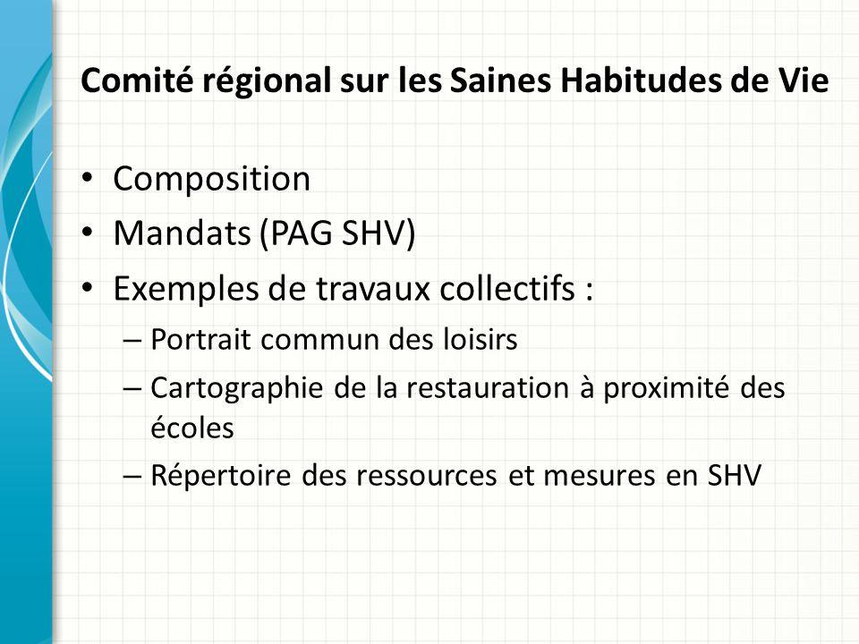 Comité régional sur les Saines Habitudes de Vie
