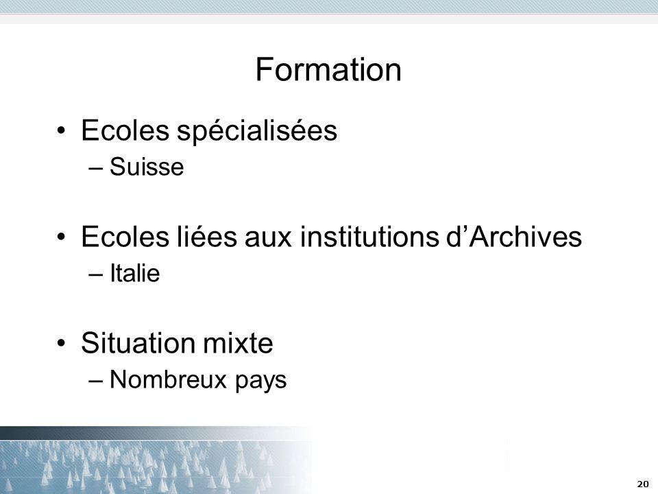 Formation Ecoles spécialisées Ecoles liées aux institutions d'Archives