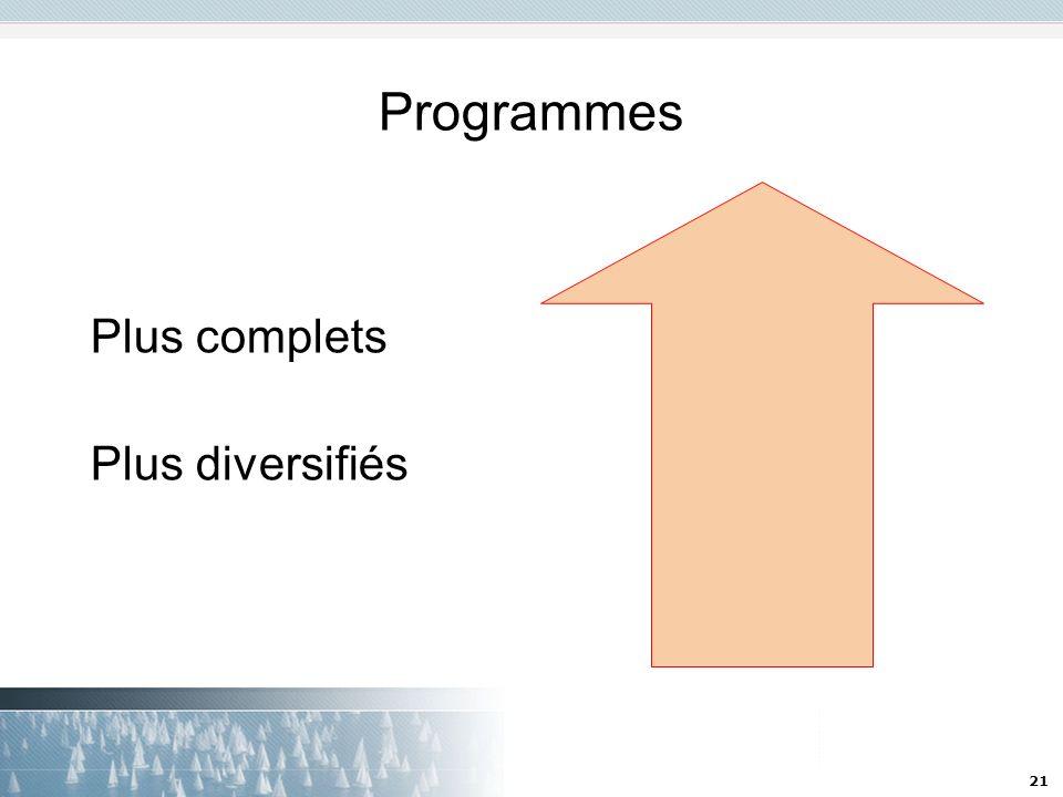 Programmes Plus complets Plus diversifiés