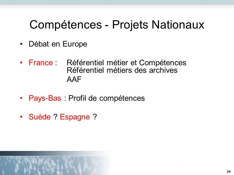 Compétences - Projets Nationaux