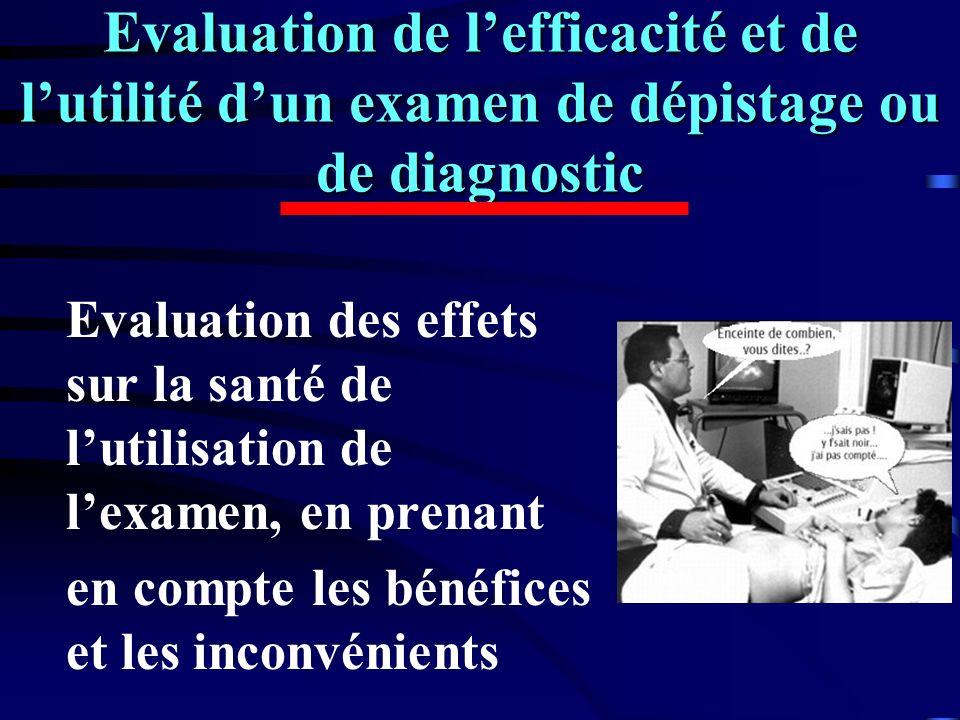 Evaluation de l'efficacité et de l'utilité d'un examen de dépistage ou de diagnostic