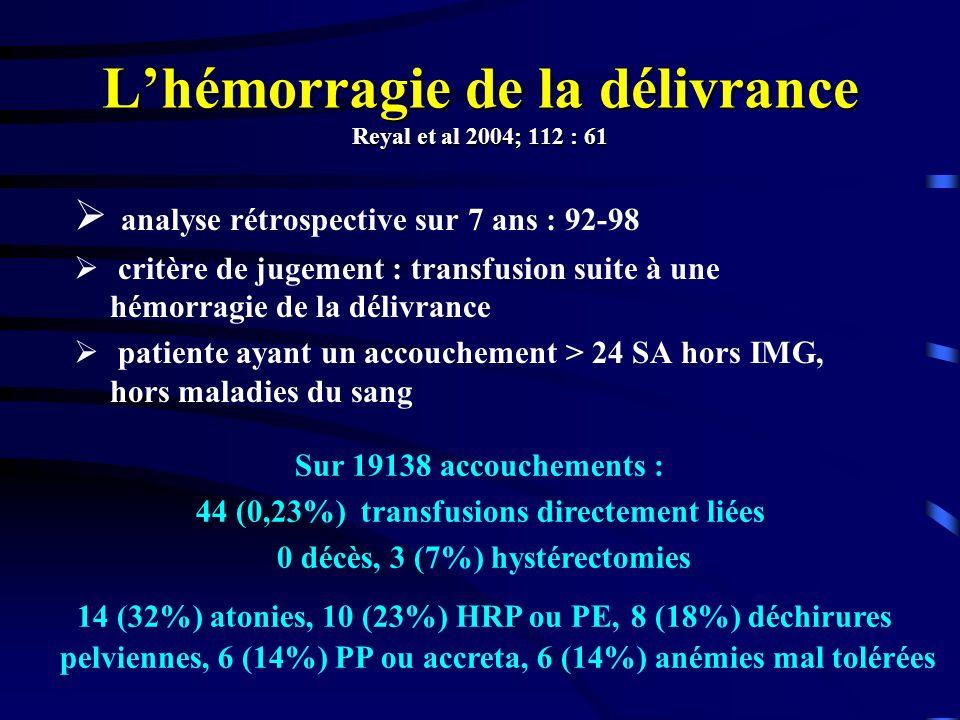 L'hémorragie de la délivrance Reyal et al 2004; 112 : 61