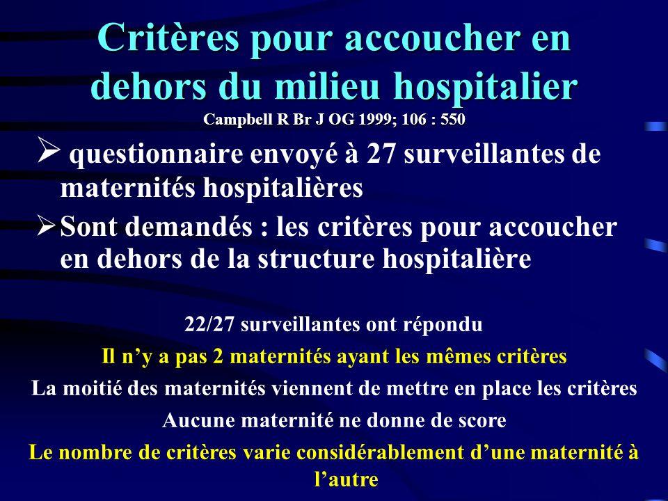 Critères pour accoucher en dehors du milieu hospitalier Campbell R Br J OG 1999; 106 : 550