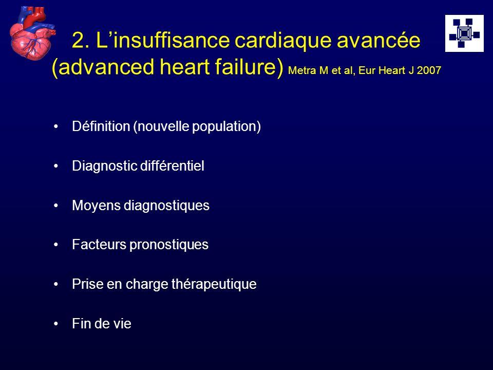 2. L'insuffisance cardiaque avancée (advanced heart failure) Metra M et al, Eur Heart J 2007
