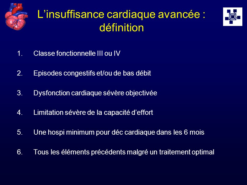 L'insuffisance cardiaque avancée : définition