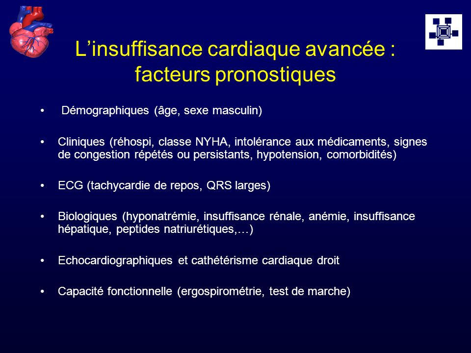 L'insuffisance cardiaque avancée : facteurs pronostiques