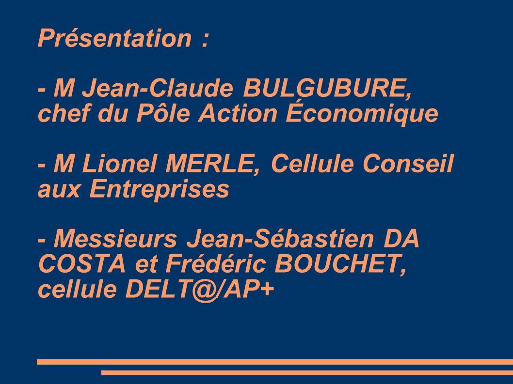 Présentation : - M Jean-Claude BULGUBURE, chef du Pôle Action Économique - M Lionel MERLE, Cellule Conseil aux Entreprises - Messieurs Jean-Sébastien DA COSTA et Frédéric BOUCHET, cellule DELT@/AP+