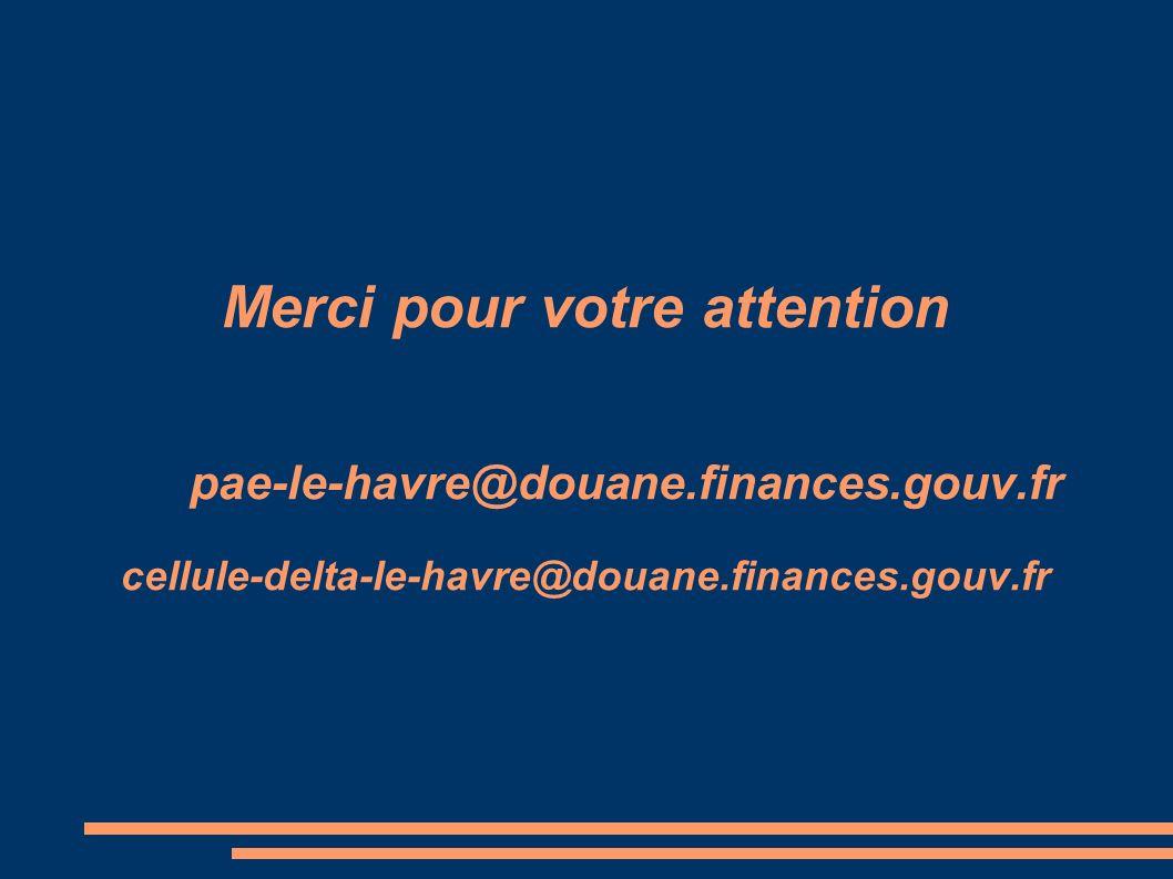 Merci pour votre attention pae-le-havre@douane. finances. gouv
