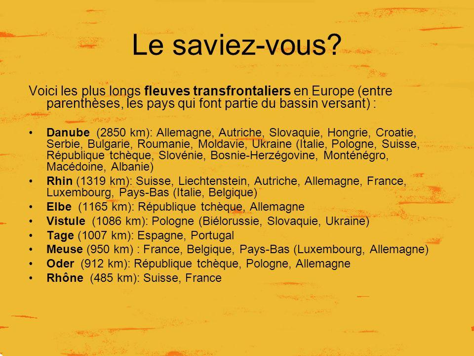 Le saviez-vous Voici les plus longs fleuves transfrontaliers en Europe (entre parenthèses, les pays qui font partie du bassin versant) :