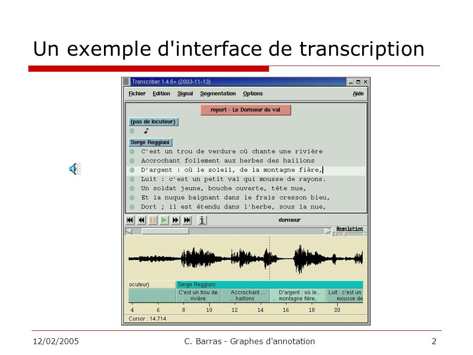 Un exemple d interface de transcription