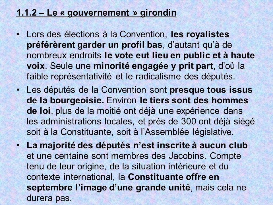 1.1.2 – Le « gouvernement » girondin