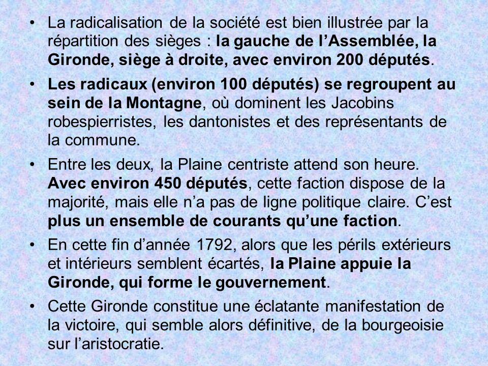 La radicalisation de la société est bien illustrée par la répartition des sièges : la gauche de l'Assemblée, la Gironde, siège à droite, avec environ 200 députés.