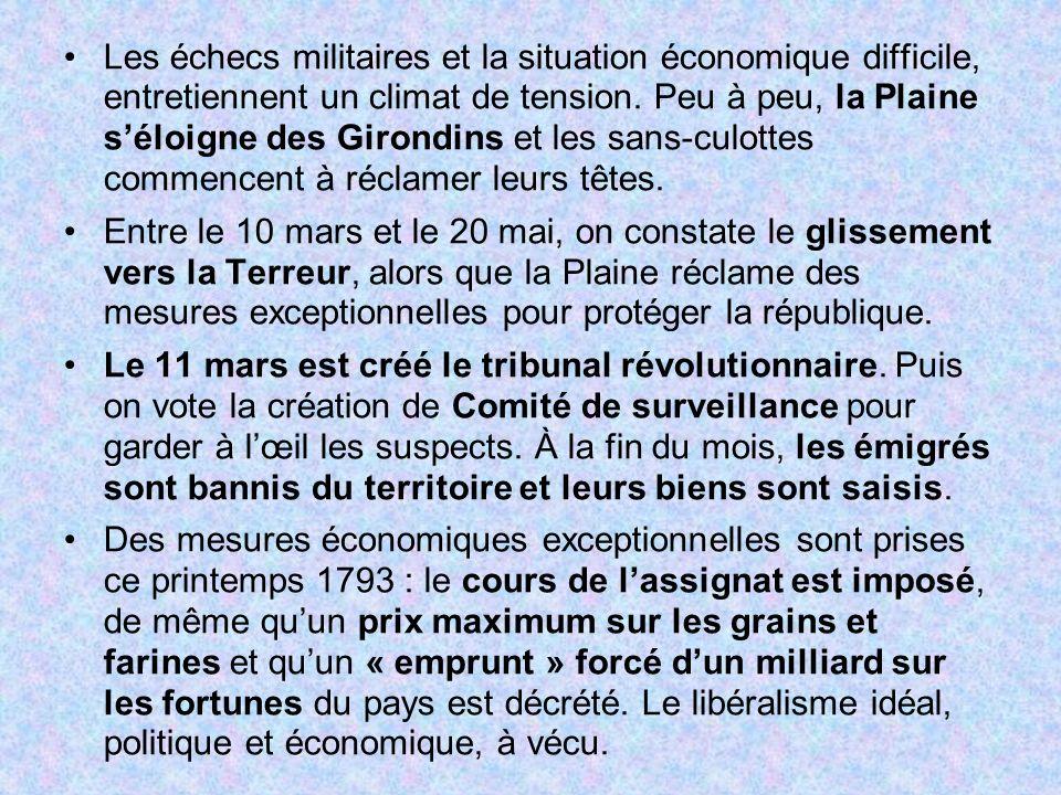 Les échecs militaires et la situation économique difficile, entretiennent un climat de tension. Peu à peu, la Plaine s'éloigne des Girondins et les sans-culottes commencent à réclamer leurs têtes.