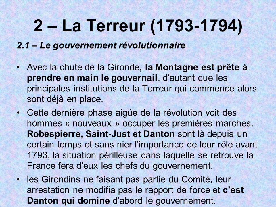 2 – La Terreur (1793-1794) 2.1 – Le gouvernement révolutionnaire