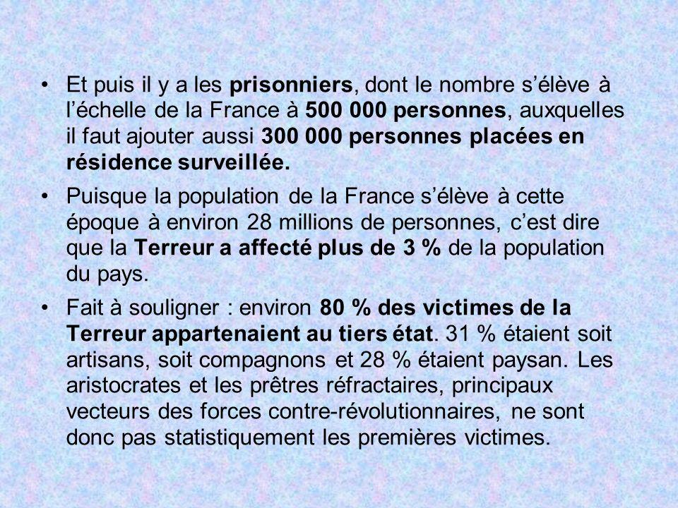 Et puis il y a les prisonniers, dont le nombre s'élève à l'échelle de la France à 500 000 personnes, auxquelles il faut ajouter aussi 300 000 personnes placées en résidence surveillée.