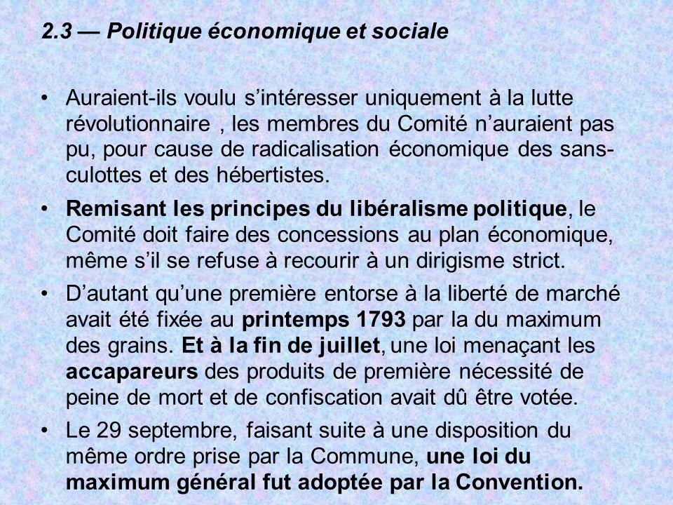 2.3 — Politique économique et sociale