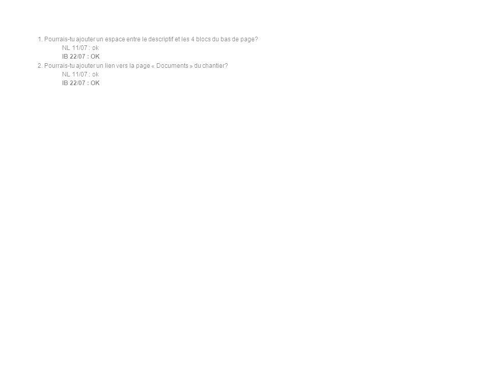 1. Pourrais-tu ajouter un espace entre le descriptif et les 4 blocs du bas de page