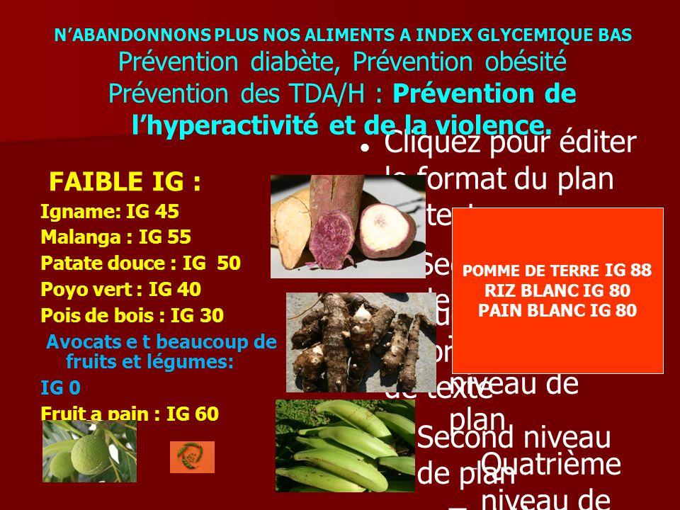 FAIBLE IG : Igname: IG 45 Malanga : IG 55 Patate douce : IG 50