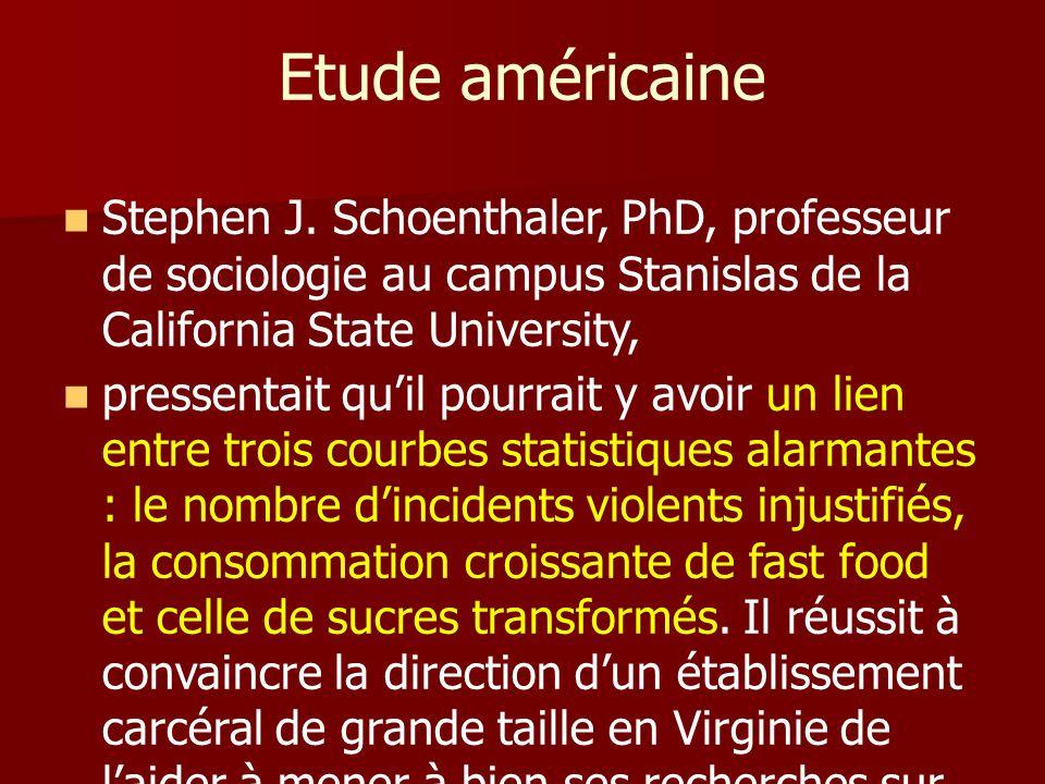 Etude américaine Stephen J. Schoenthaler, PhD, professeur de sociologie au campus Stanislas de la California State University,