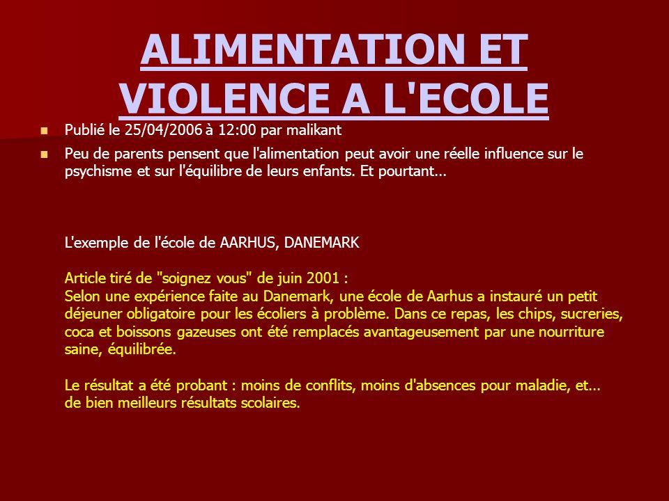 ALIMENTATION ET VIOLENCE A L ECOLE