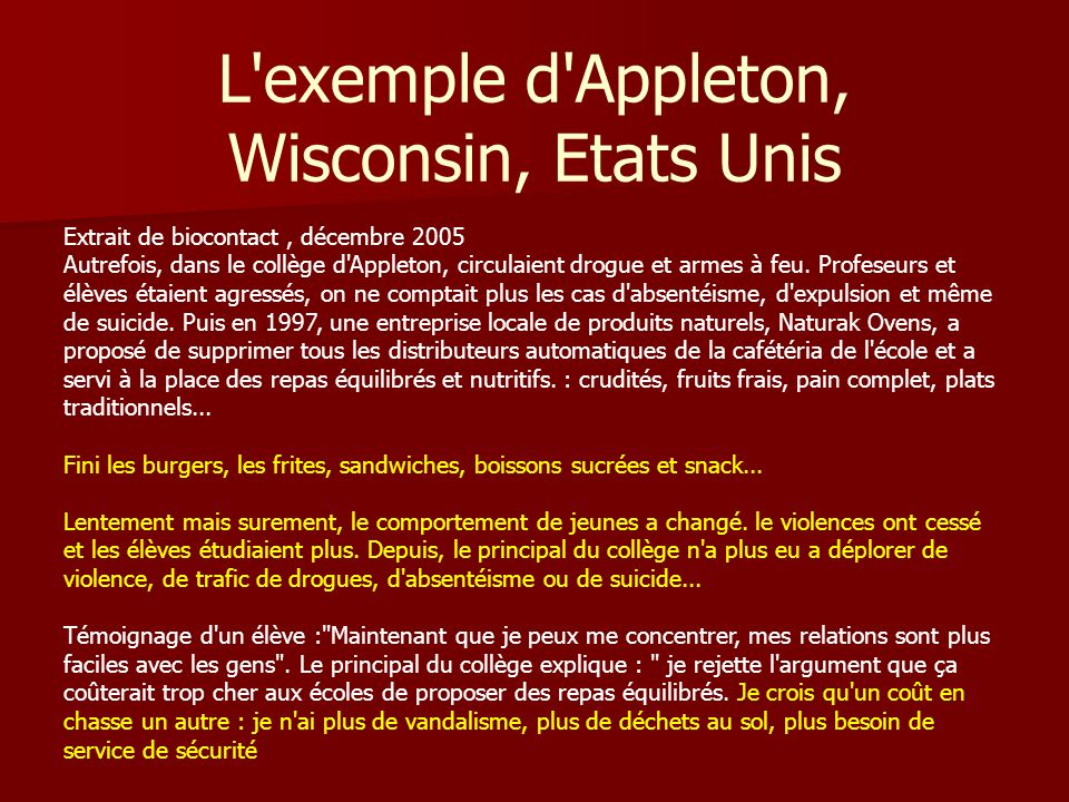 L exemple d Appleton, Wisconsin, Etats Unis