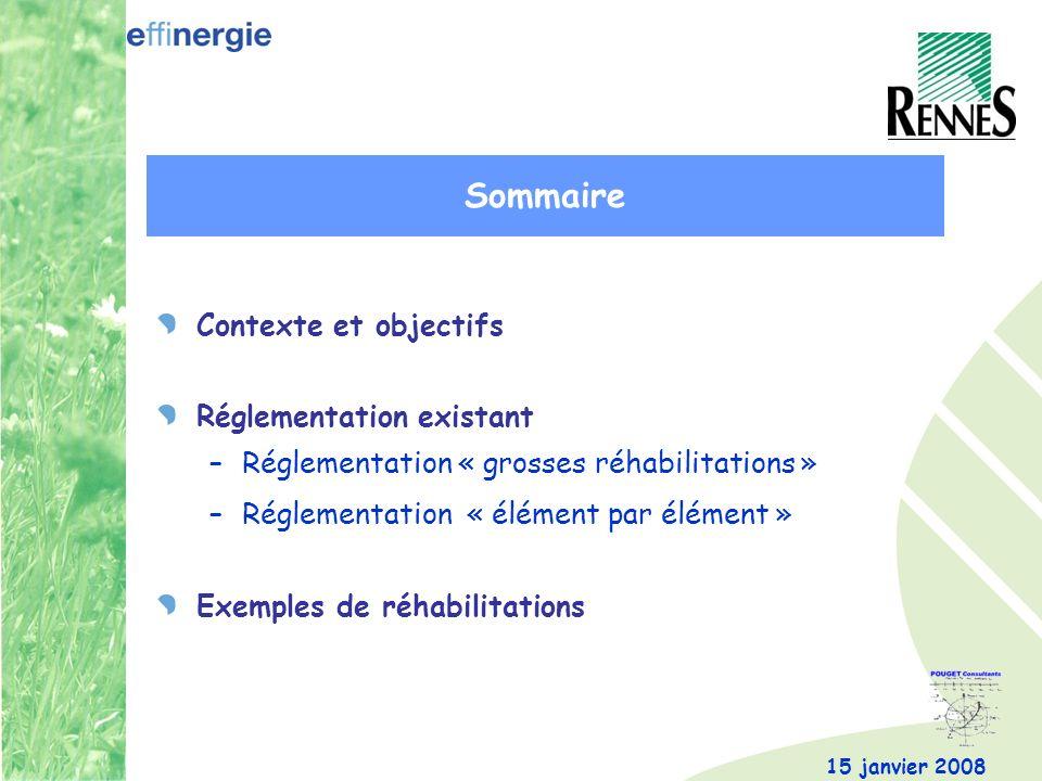 Sommaire Contexte et objectifs Réglementation existant
