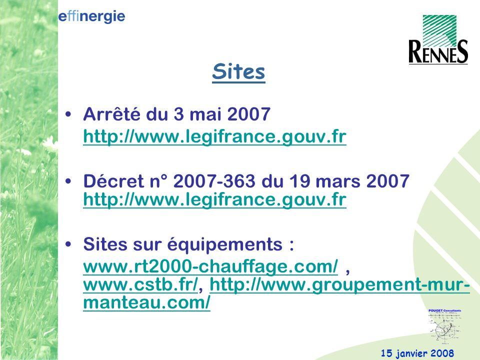 Sites Arrêté du 3 mai 2007 http://www.legifrance.gouv.fr